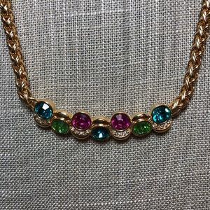 Swarovski Swan Signed Choker Necklace Wheat Chain